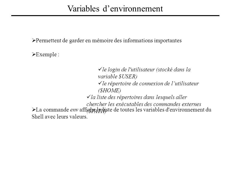 Permettent de garder en mémoire des informations importantes Exemple : le login de l'utilisateur (stocké dans la variable $USER) le répertoire de conn