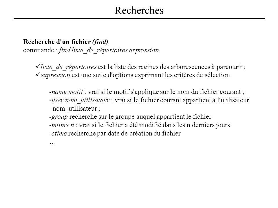 Recherche d'un fichier (find) commande : find liste_de_répertoires expression liste_de_répertoires est la liste des racines des arborescences à parcou