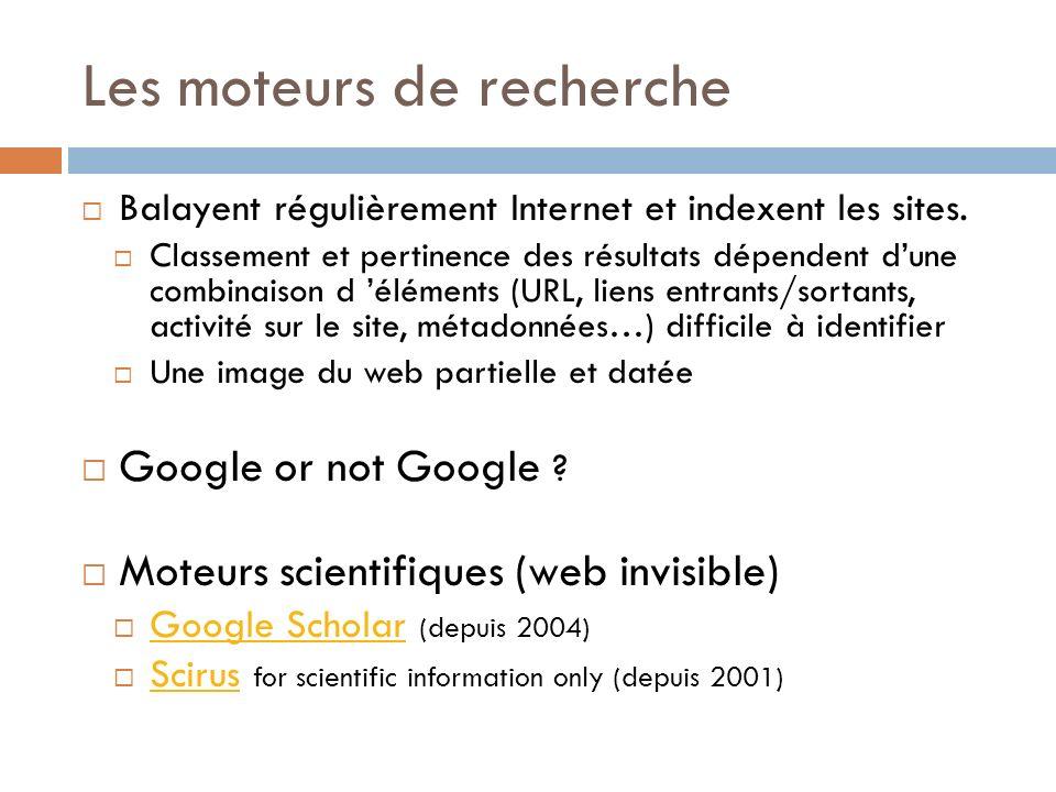 Les moteurs de recherche Balayent régulièrement Internet et indexent les sites.