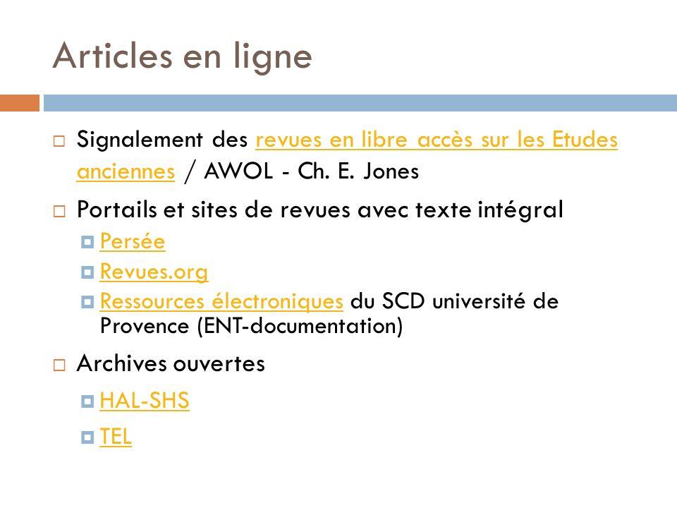 Articles en ligne Signalement des revues en libre accès sur les Etudes anciennes / AWOL - Ch.