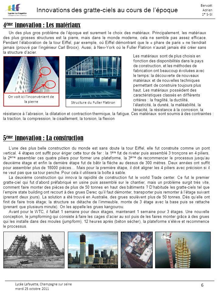Lycée Lafayette, Champagne sur seine mardi 25 octobre 2011 6 Innovations des gratte-ciels au cours de lépoque Bervoët Adrien 1 er S-SI 5 ème innovatio