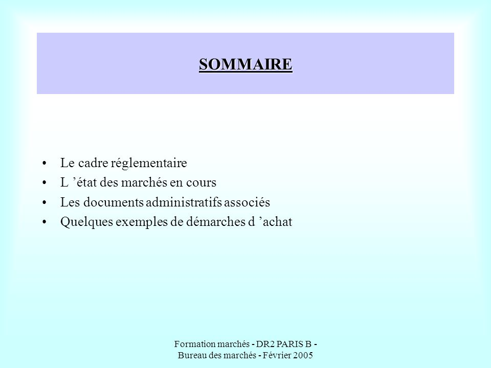 Formation marchés - DR2 PARIS B - Bureau des marchés - Février 2005 SOMMAIRE Le cadre réglementaire L état des marchés en cours Les documents administ