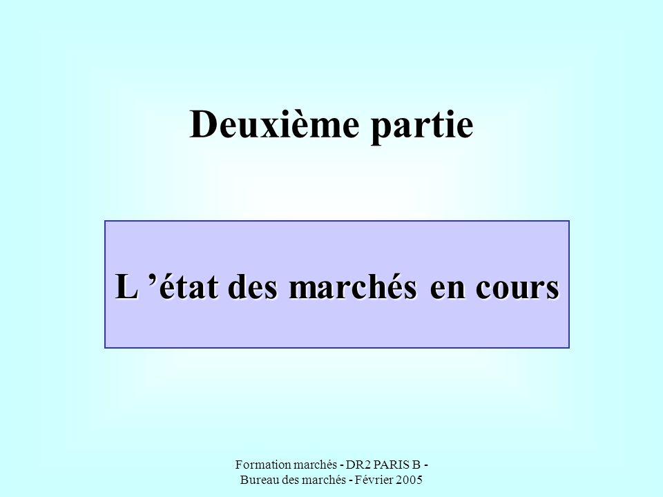 Formation marchés - DR2 PARIS B - Bureau des marchés - Février 2005 Deuxième partie L état des marchés en cours