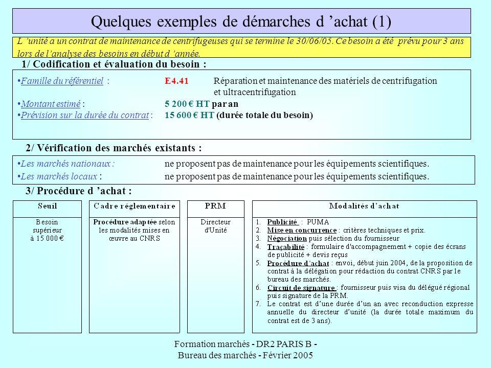 Formation marchés - DR2 PARIS B - Bureau des marchés - Février 2005 Quelques exemples de démarches d achat (1) L unité a un contrat de maintenance de
