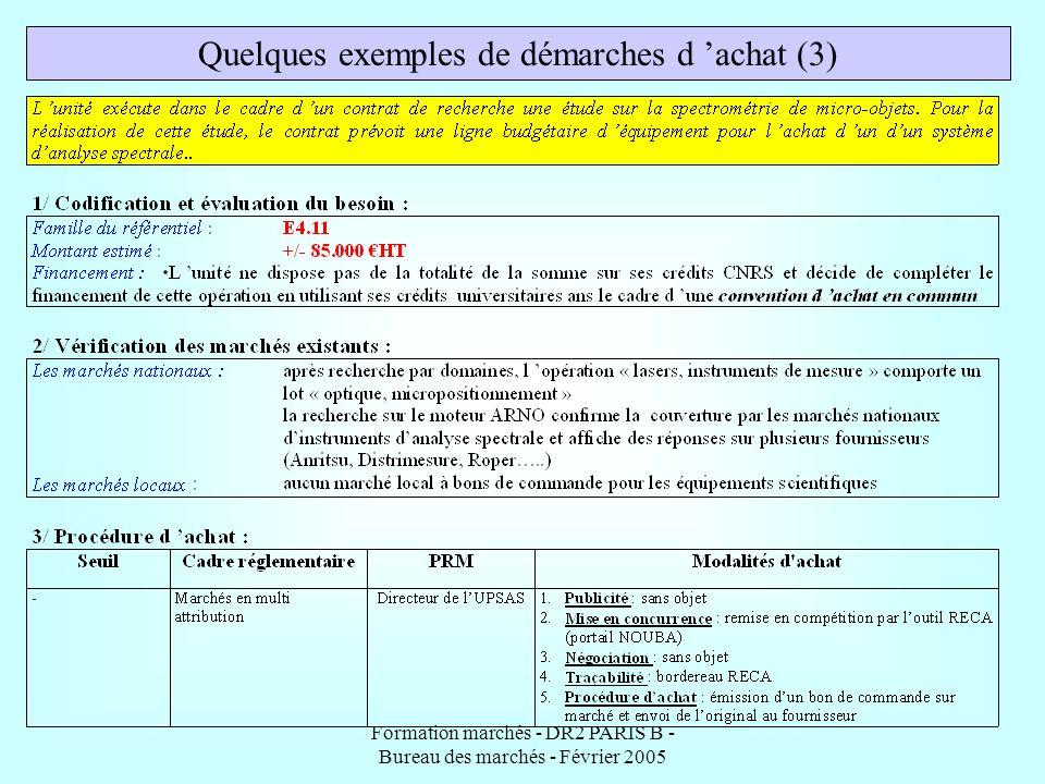 Formation marchés - DR2 PARIS B - Bureau des marchés - Février 2005 Quelques exemples de démarches d achat (3)