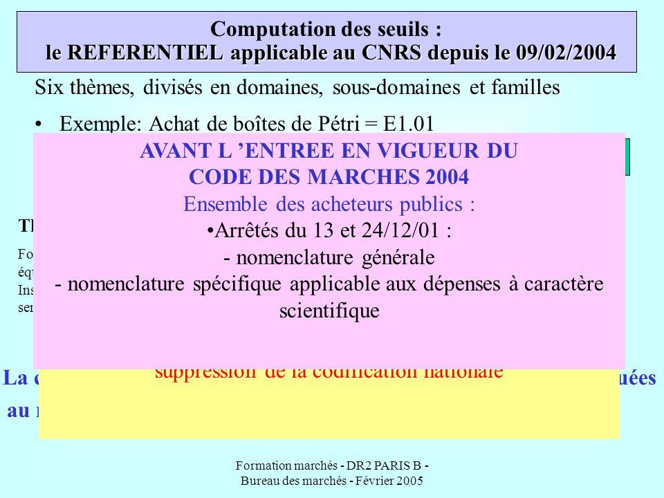 Formation marchés - DR2 PARIS B - Bureau des marchés - Février 2005 Computation des seuils : La codification de l achat et la computation des seuils s