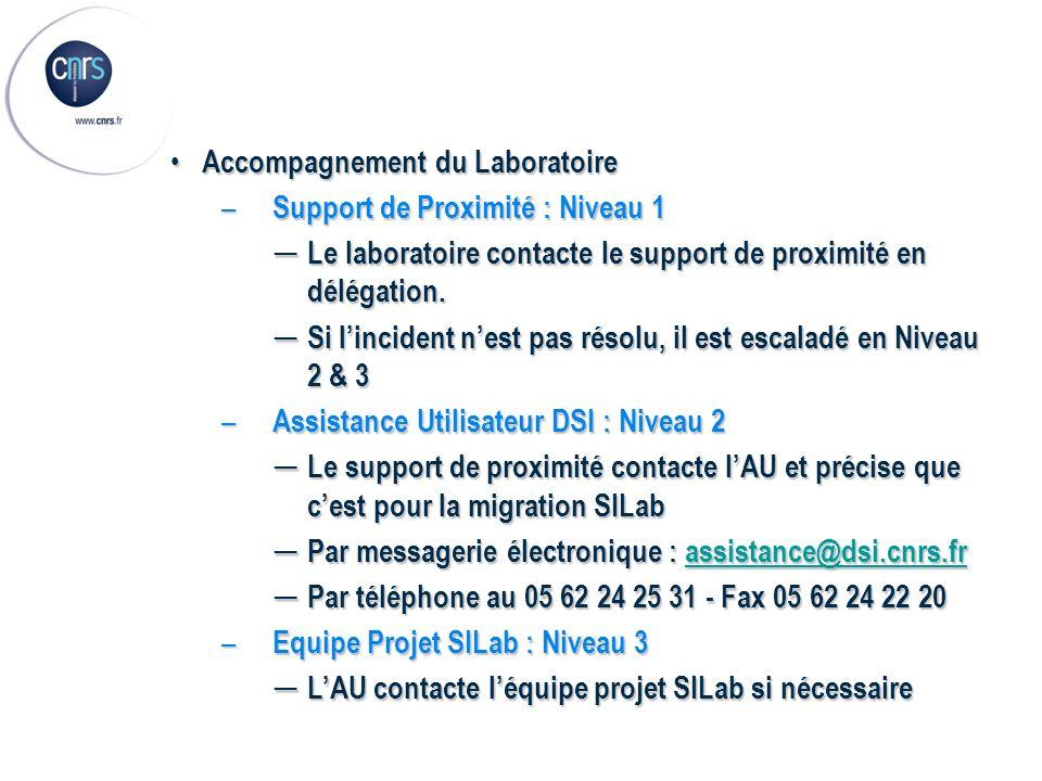 Accompagnement du Laboratoire Accompagnement du Laboratoire – Support de Proximité : Niveau 1 Le laboratoire contacte le support de proximité en délég