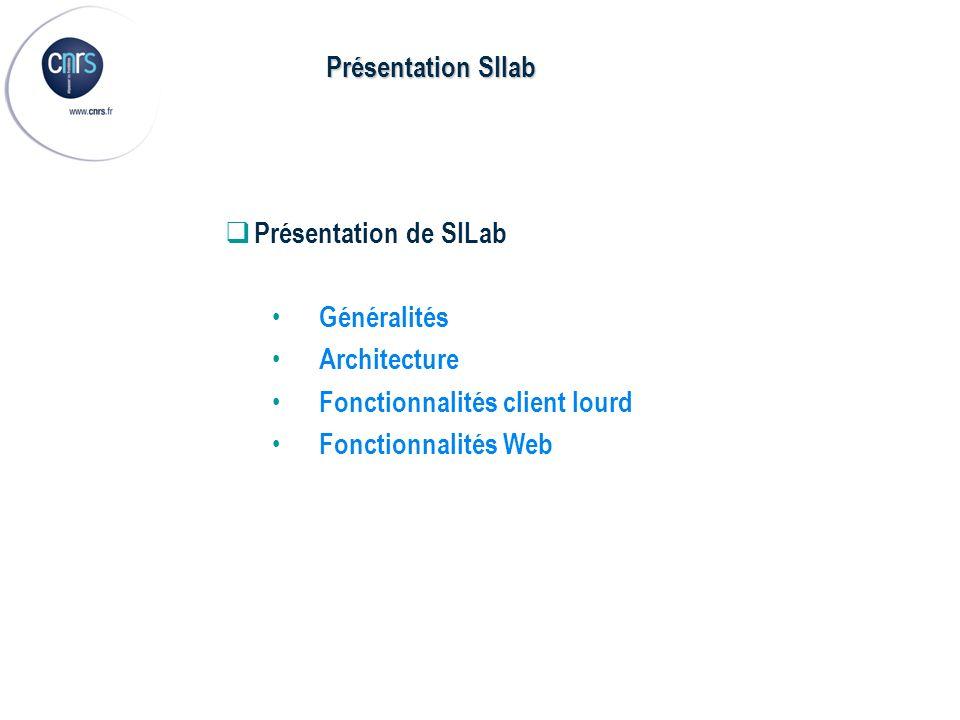 Présentation de SILab Généralités Architecture Fonctionnalités client lourd Fonctionnalités Web Présentation SIlab
