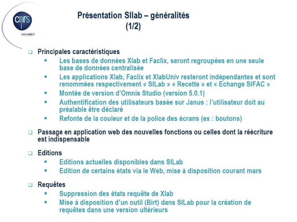 Présentation SIlab – généralités (1/2)
