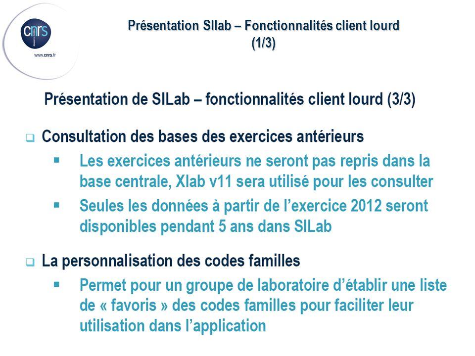 Présentation SIlab – Fonctionnalités client lourd (1/3)