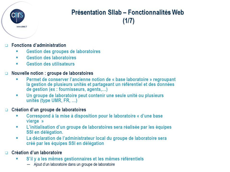 Présentation SIlab – Fonctionnalités Web (1/7) (1/7)
