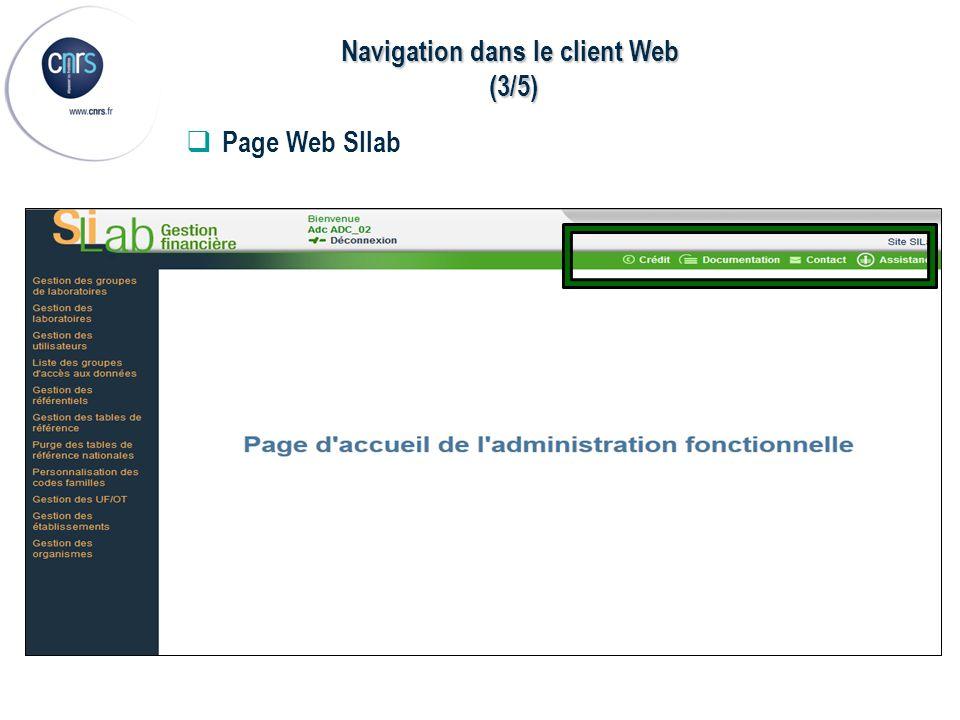 Navigation dans le client Web (3/5) (3/5) Page Web SIlab