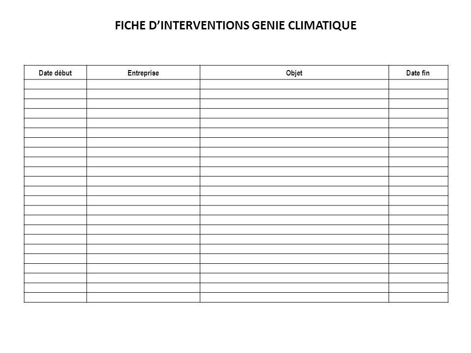 FICHE DINTERVENTIONS GENIE CLIMATIQUE Date débutEntrepriseObjetDate fin