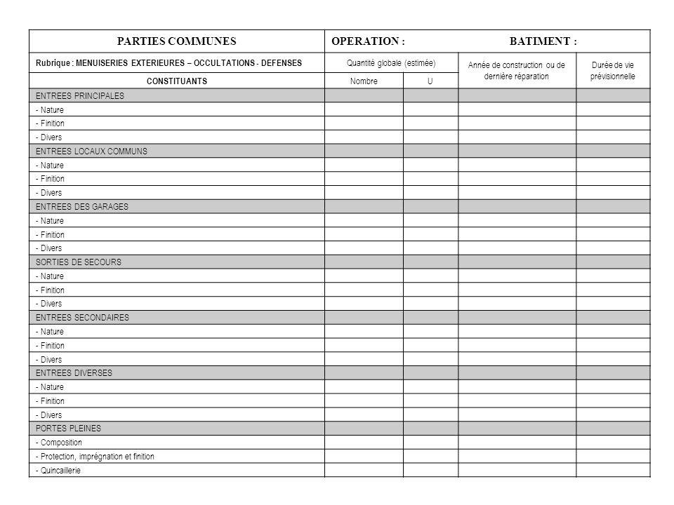 PARTIES COMMUNES OPERATION :BATIMENT : Rubrique : MENUISERIES EXTERIEURES – OCCULTATIONS - DEFENSES Quantité globale (estimée) Année de construction o