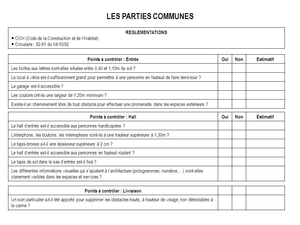 LES PARTIES COMMUNES REGLEMENTATIONS CCH (Code de la Construction et de lHabitat) Circulaire : 82-91 du 04/10/82 Points à contrôler : EntréeOuiNonEsti