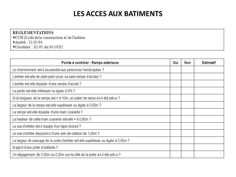 LES ACCES AUX BATIMENTS REGLEMENTATIONS CCH (Code de la construction et de l habitat Arrêt é : 31/05/94 Circulaire : 82-91 du 04/10/82 Points à contrô