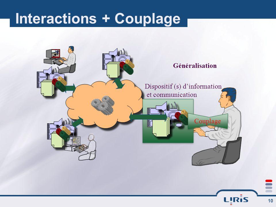 10 Interactions + Couplage Couplage Généralisation Dispositif (s) dinformation et communication