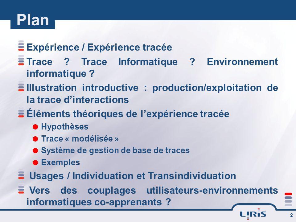 2 Plan Expérience / Expérience tracée Trace ? Trace Informatique ? Environnement informatique ? Illustration introductive : production/exploitation de