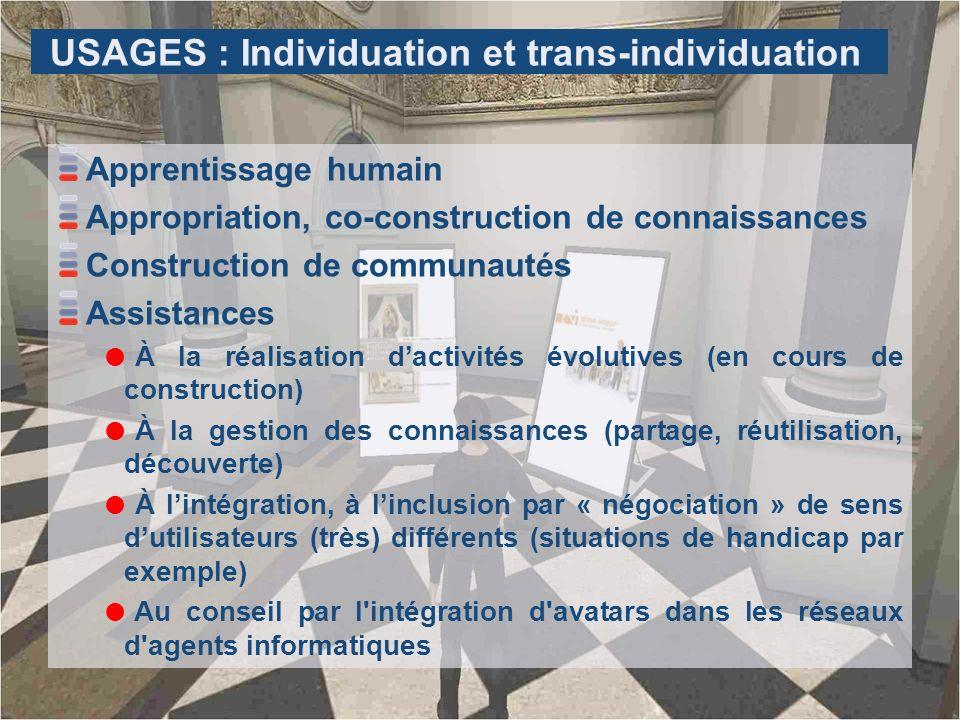 USAGES : Individuation et trans-individuation Apprentissage humain Appropriation, co-construction de connaissances Construction de communautés Assista