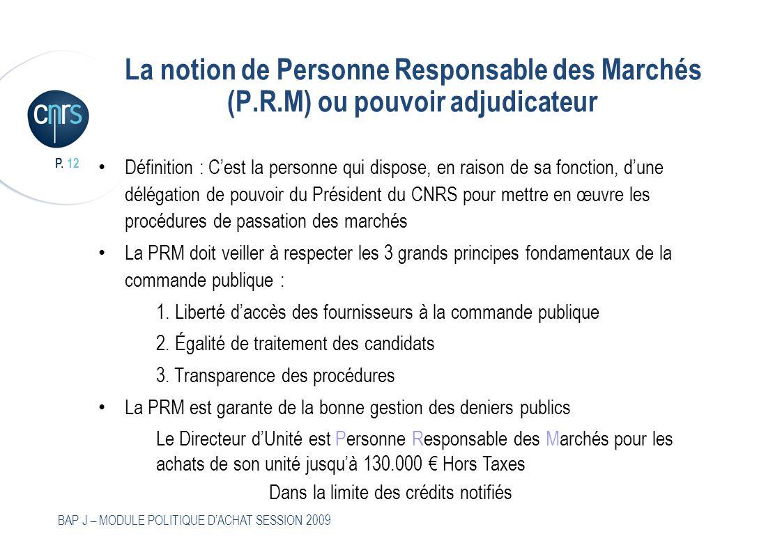 P. 12 BAP J – MODULE POLITIQUE DACHAT SESSION 2009 La notion de Personne Responsable des Marchés (P.R.M) ou pouvoir adjudicateur Définition : Cest la