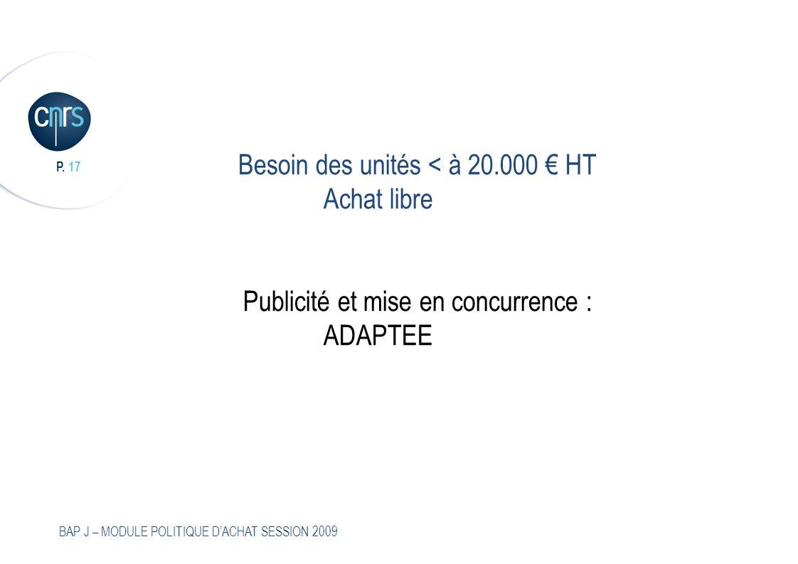 P. 17 BAP J – MODULE POLITIQUE DACHAT SESSION 2009 Besoin des unités < à 20.000 HT Achat libre Publicité et mise en concurrence : ADAPTEE