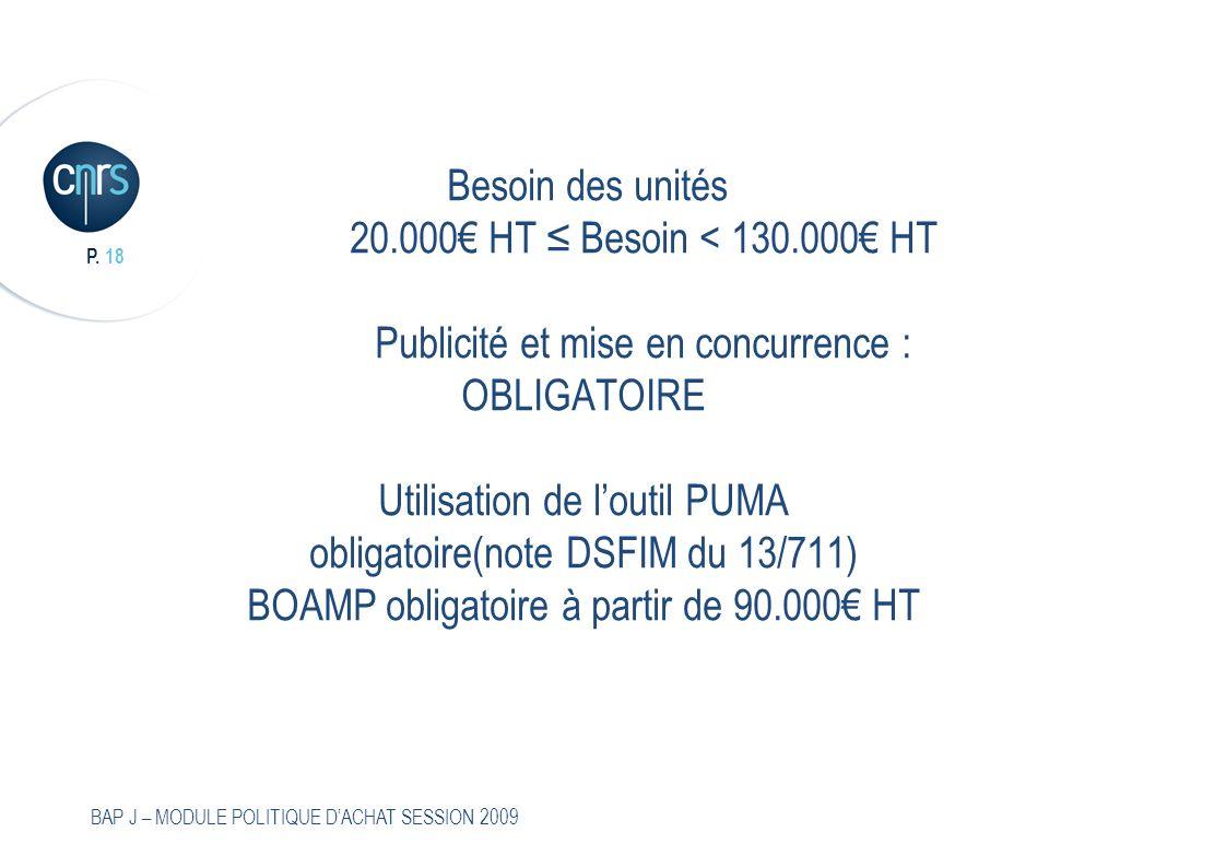 P. 18 BAP J – MODULE POLITIQUE DACHAT SESSION 2009 Besoin des unités 20.000 HT Besoin < 130.000 HT Publicité et mise en concurrence : OBLIGATOIRE Util