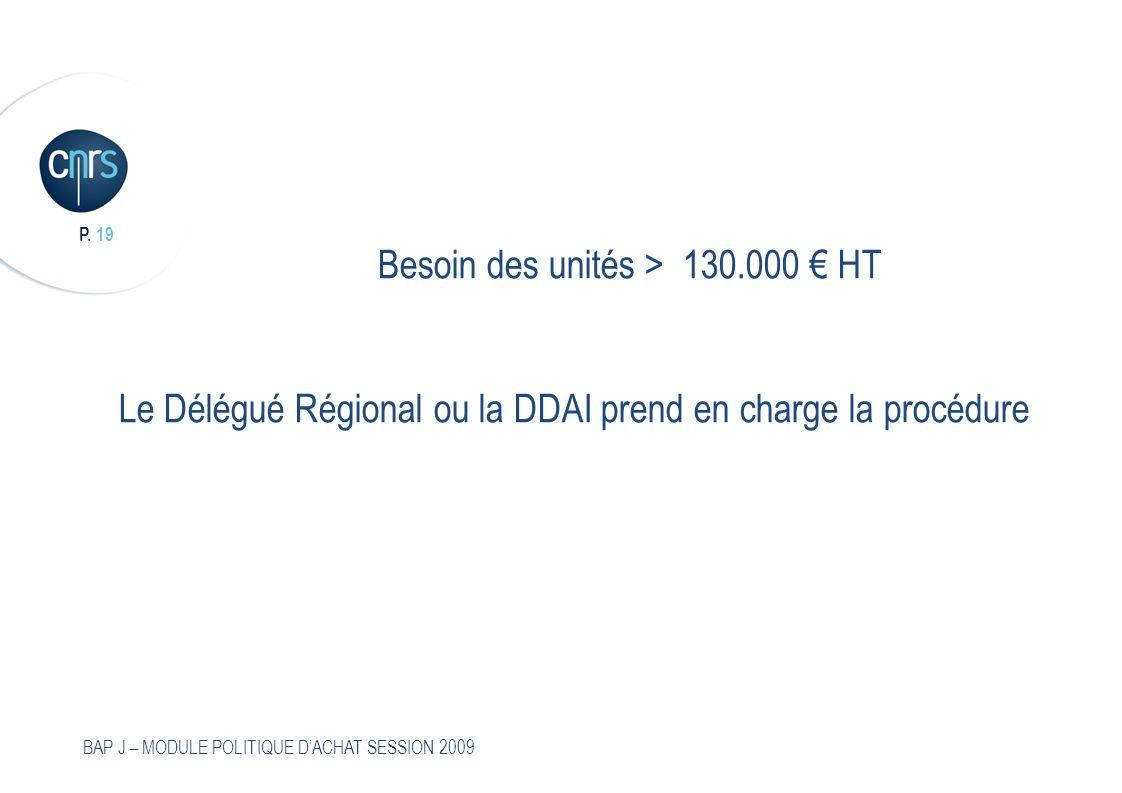 P. 19 BAP J – MODULE POLITIQUE DACHAT SESSION 2009 Besoin des unités > 130.000 HT Le Délégué Régional ou la DDAI prend en charge la procédure