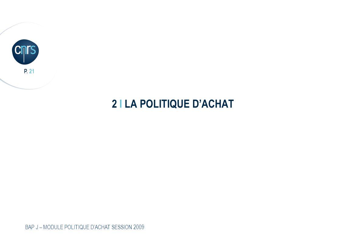 P. 21 BAP J – MODULE POLITIQUE DACHAT SESSION 2009 2 I LA POLITIQUE DACHAT