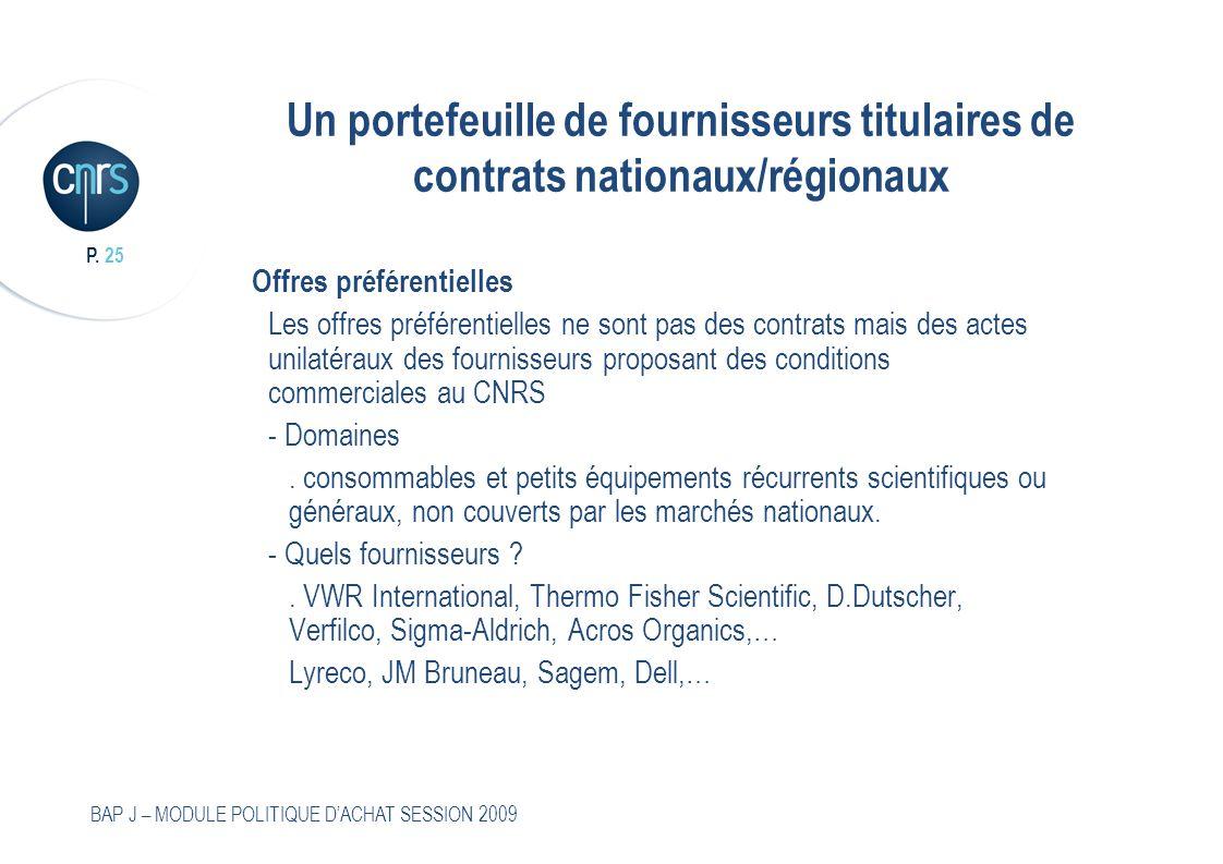 P. 25 BAP J – MODULE POLITIQUE DACHAT SESSION 2009 Un portefeuille de fournisseurs titulaires de contrats nationaux/régionaux Offres préférentielles L