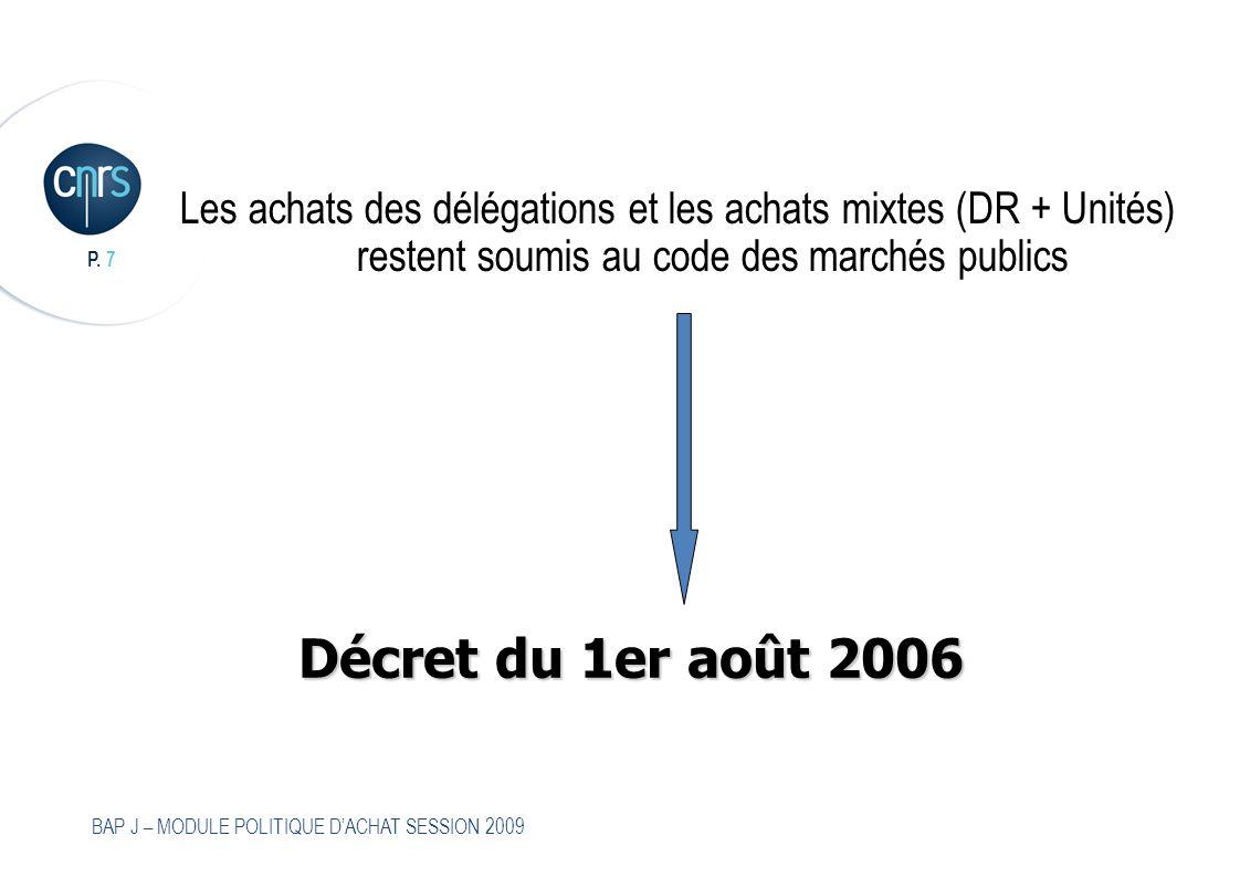P. 7 BAP J – MODULE POLITIQUE DACHAT SESSION 2009 Les achats des délégations et les achats mixtes (DR + Unités) restent soumis au code des marchés pub