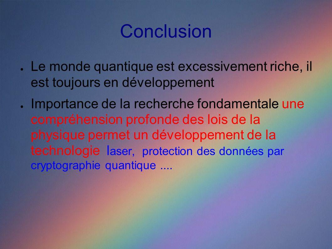 Conclusion Le monde quantique est excessivement riche, il est toujours en développement Importance de la recherche fondamentale une compréhension profonde des lois de la physique permet un développement de la technologie l aser, protection des données par cryptographie quantique....