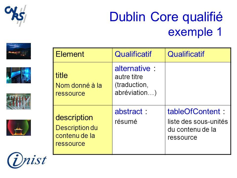 Dublin Core qualifié exemple 1 ElementQualificatif title Nom donné à la ressource alternative : autre titre (traduction, abréviation…) description Des