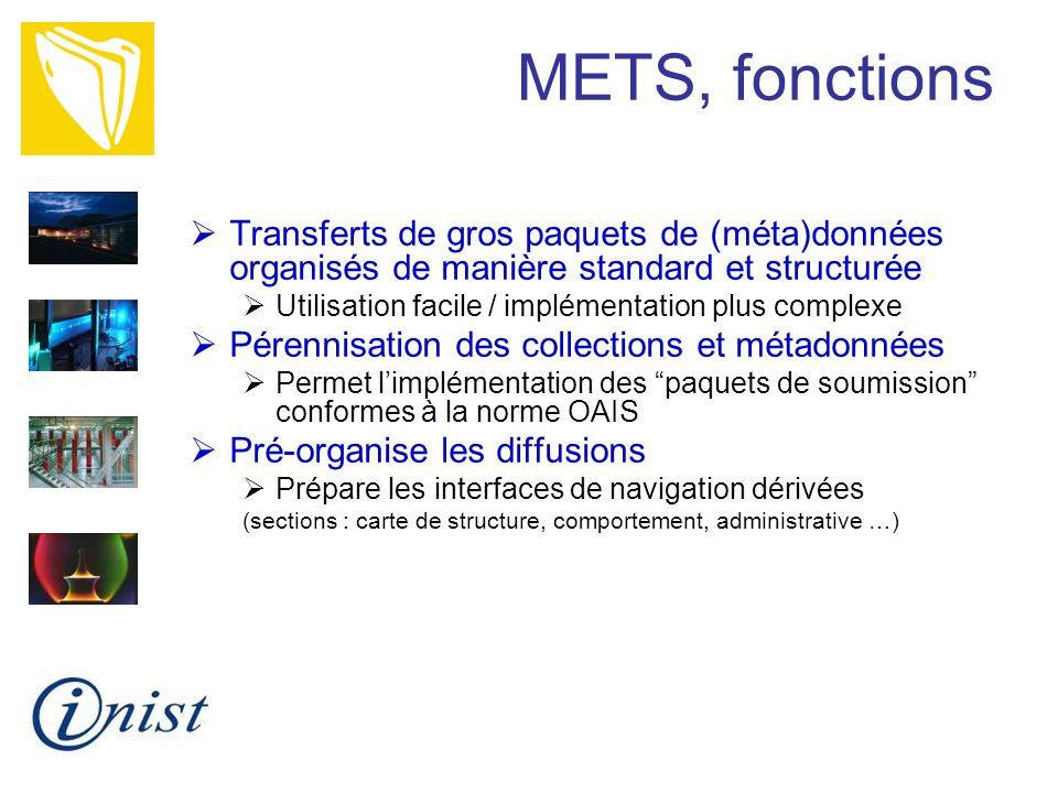 METS, fonctions Transferts de gros paquets de (méta)données organisés de manière standard et structurée Utilisation facile / implémentation plus compl