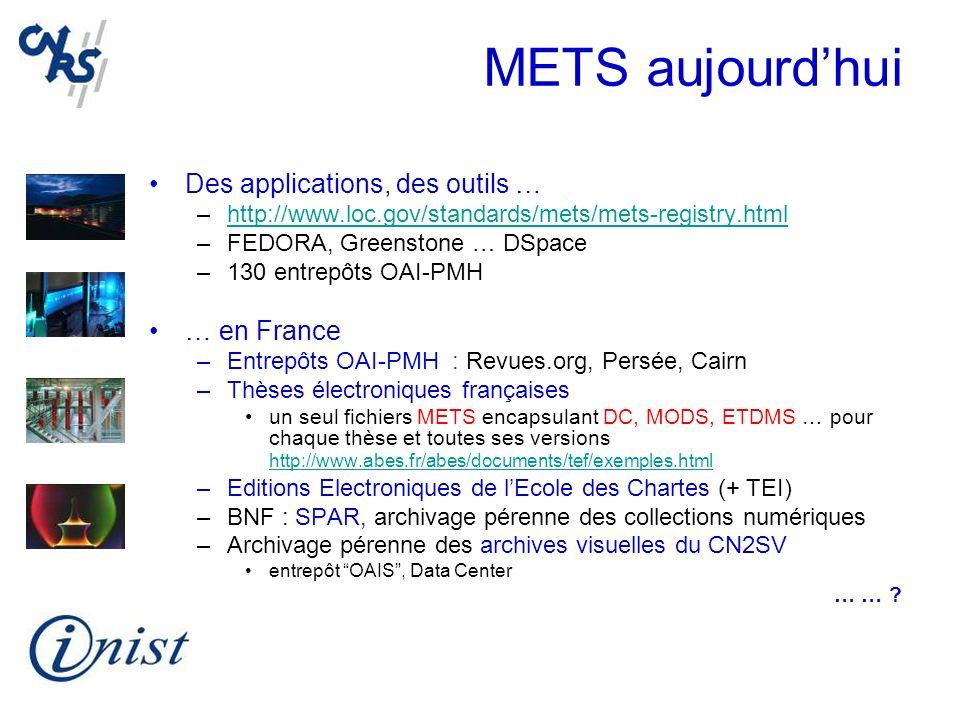METS aujourdhui Des applications, des outils … –http://www.loc.gov/standards/mets/mets-registry.htmlhttp://www.loc.gov/standards/mets/mets-registry.ht