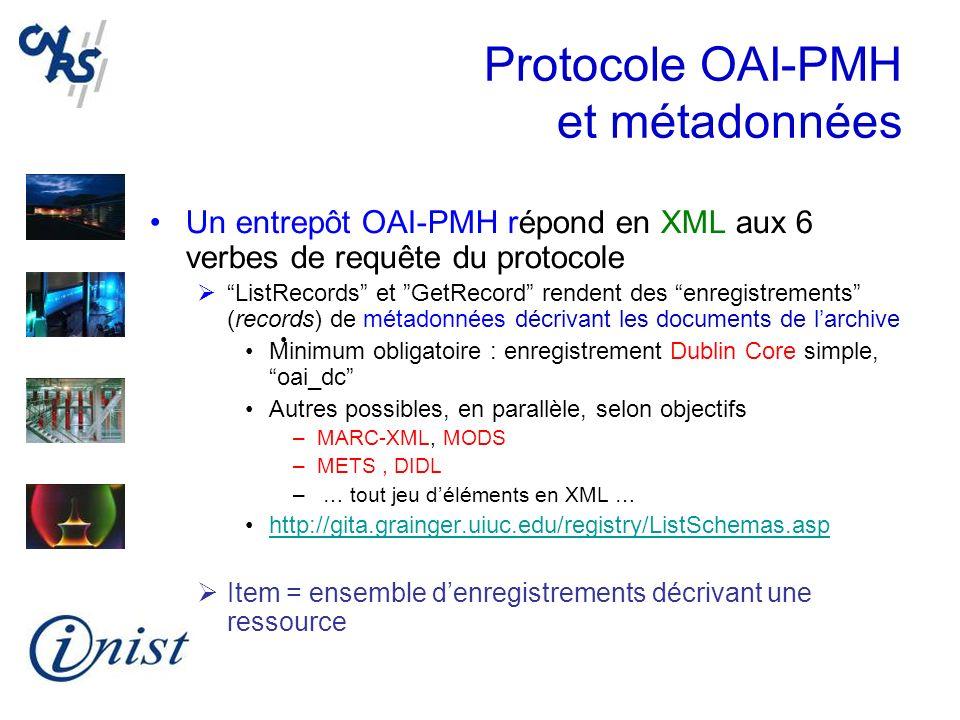 Protocole OAI-PMH et métadonnées Un entrepôt OAI-PMH répond en XML aux 6 verbes de requête du protocole ListRecords et GetRecord rendent des enregistr