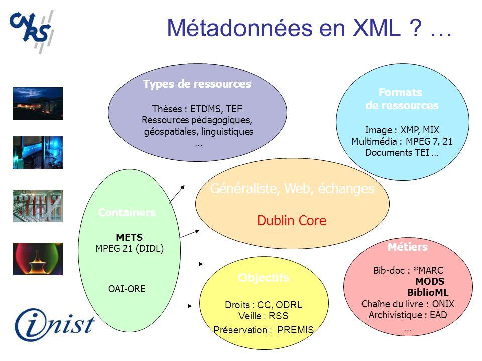 Métadonnées en XML ? … Généraliste, Web, échanges Dublin Core Formats de ressources Image : XMP, MIX Multimédia : MPEG 7, 21 Documents TEI … Métiers B
