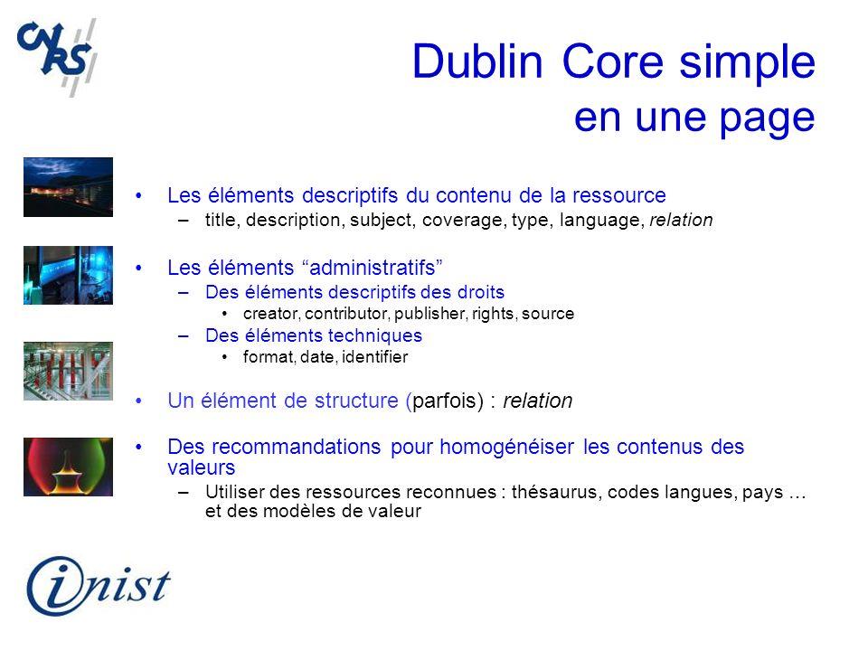 Dublin Core simple en une page Les éléments descriptifs du contenu de la ressource –title, description, subject, coverage, type, language, relation Le