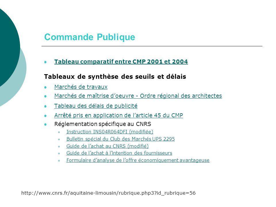Commande Publique Tableau comparatif entre CMP 2001 et 2004 Tableaux de synthèse des seuils et délais Marchés de travaux Marchés de maîtrise doeuvre - Ordre régional des architectes Tableau des délais de publicité Arrêté pris en application de larticle 45 du CMP Réglementation spécifique au CNRS Instruction INS04R064DFI (modifiée) Bulletin spécial du Club des Marchés UPS 2295 Guide de lachat au CNRS (modifié) Guide de lachat à lintention des fournisseurs Formulaire danalyse de loffre économiquement avantageuse http://www.cnrs.fr/aquitaine-limousin/rubrique.php3 id_rubrique=56