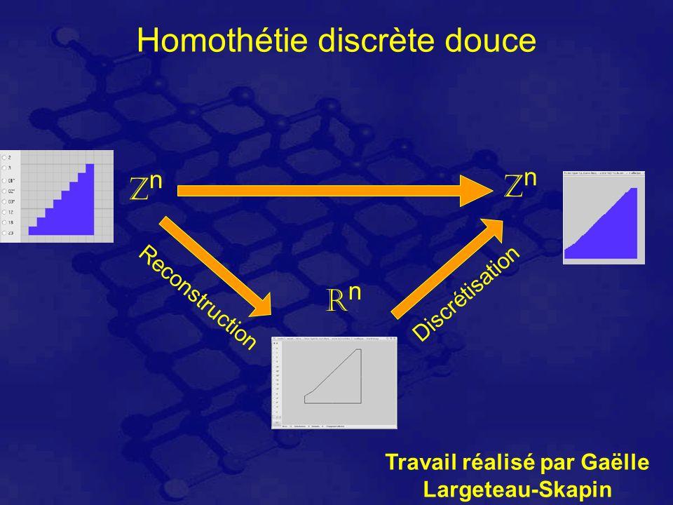 Homothétie discrète douce ZnZn ZnZn RnRn Reconstruction Discrétisation Travail réalisé par Gaëlle Largeteau-Skapin