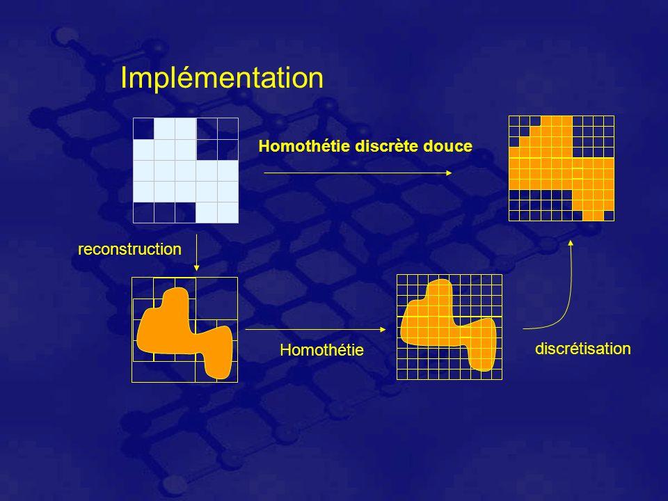 Implémentation reconstruction Homothétie discrétisation Homothétie discrète douce