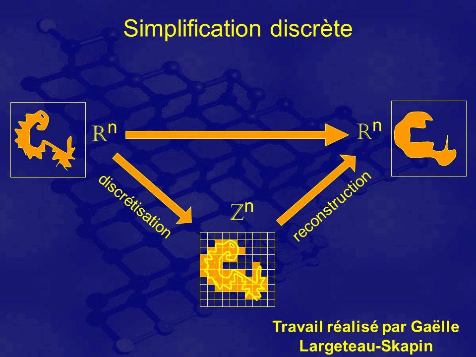 Simplification discrète RnRn RnRn ZnZn discrétisation reconstruction Travail réalisé par Gaëlle Largeteau-Skapin