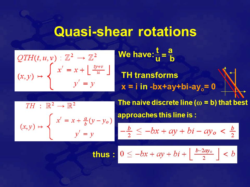 = t a u b We have: TH transforms x = i in -bx+ay+bi-ay o = 0 The naive discrete line ( = b) that best approaches this line is : thus : Quasi-shear rotations