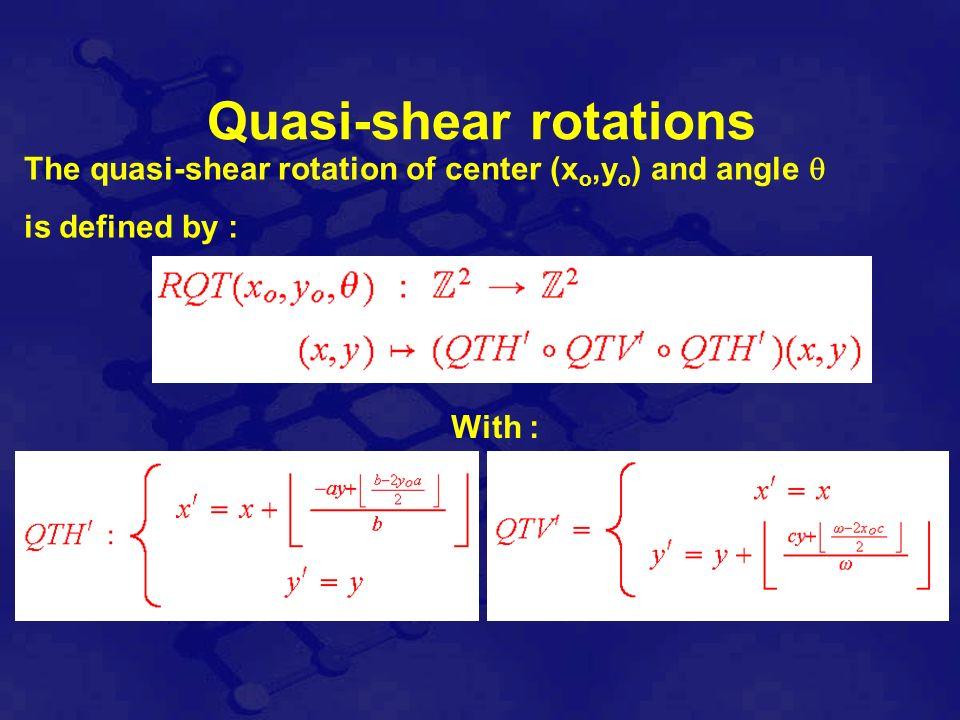 Properties of the quasi-shear rotation The quasi-shear rotation is one-to-one and RQT(xo, yo, ) -1 = RQT(xo, yo, - )