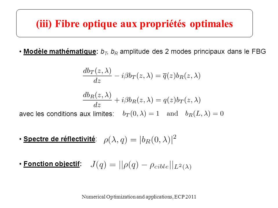 FBG avec apodisation gaussienne FBG avec apodisation en raised-cosinus FBG avec apodisation constante ( n=1E-4) FBG avec forte apodistion ( n=4E-4) Quatre exemples de spectres de réflectivité ( L=20cm, n 0 =1.45, B =1550nm ): (iii) Fibre optique aux propriétés optimales Numerical Optimization and applications, ECP 2011