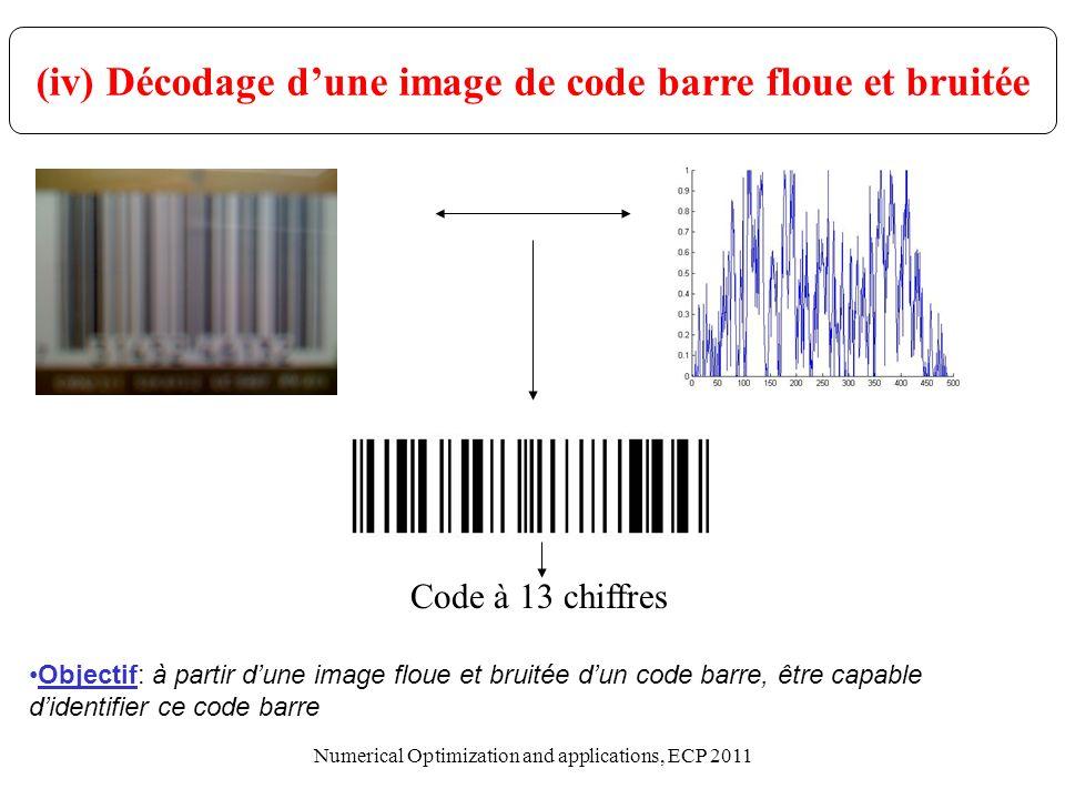(iv) Décodage dune image de code barre floue et bruitée Objectif: à partir dune image floue et bruitée dun code barre, être capable didentifier ce cod