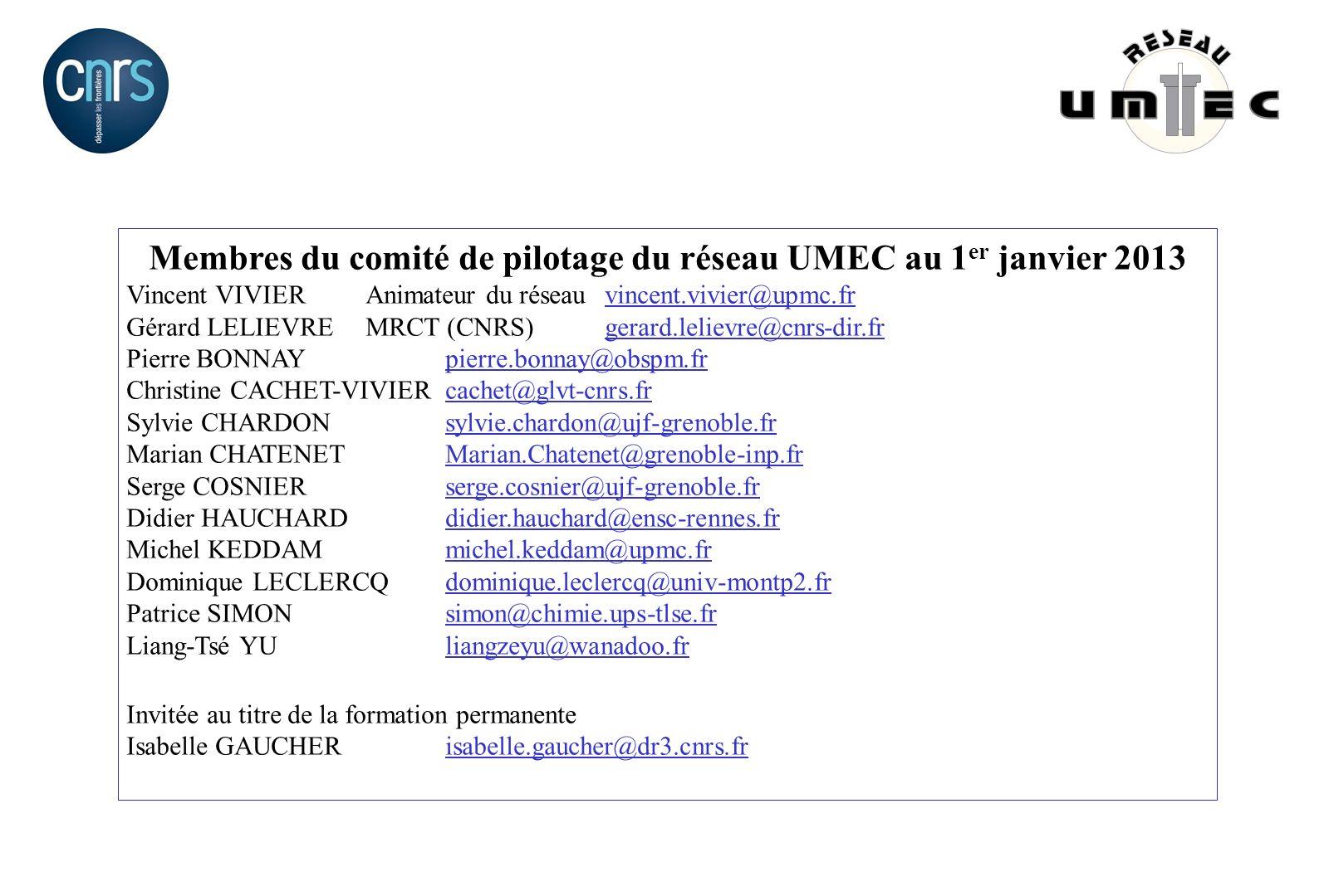 Membres du comité de pilotage du réseau UMEC au 1 er janvier 2013 Vincent VIVIERAnimateur du réseauvincent.vivier@upmc.frvincent.vivier@upmc.fr Gérard