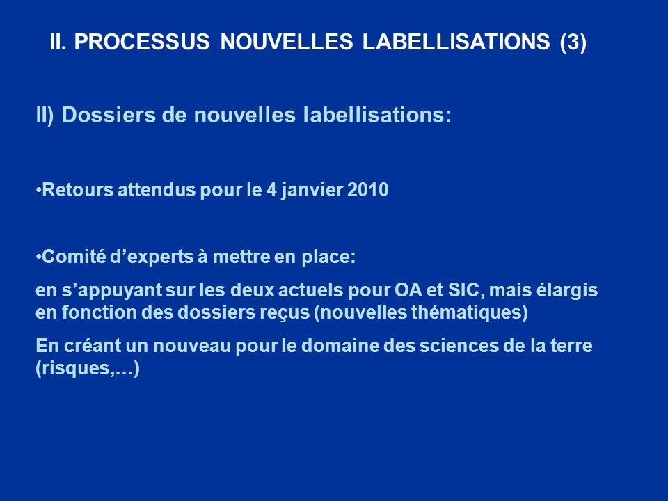II. PROCESSUS NOUVELLES LABELLISATIONS (3) II) Dossiers de nouvelles labellisations: Retours attendus pour le 4 janvier 2010 Comité dexperts à mettre