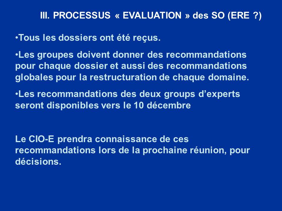 III. PROCESSUS « EVALUATION » des SO (ERE ?) Tous les dossiers ont été reçus. Les groupes doivent donner des recommandations pour chaque dossier et au