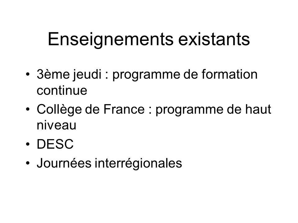 Enseignements existants 3ème jeudi : programme de formation continue Collège de France : programme de haut niveau DESC Journées interrégionales
