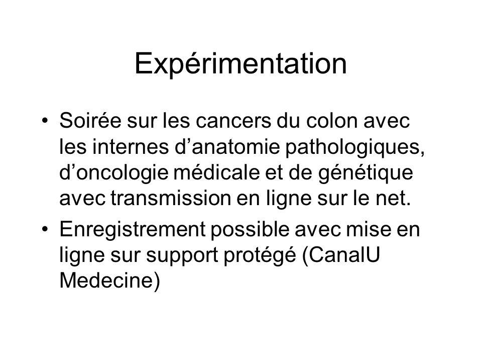 Expérimentation Soirée sur les cancers du colon avec les internes danatomie pathologiques, doncologie médicale et de génétique avec transmission en li